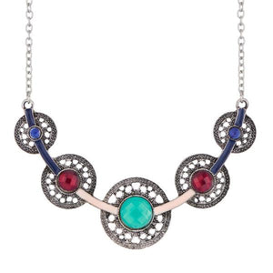 Tiptop Fashions  Crystal Stone Rhodium Plated Statement Necklace  -  Imitation Jewellery - 1110731a - 11107