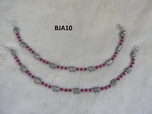 Tip Top Fashions Silver Plated Purple Anklet Set - BJA10