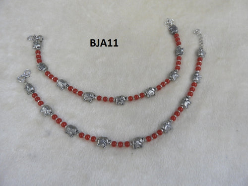Tip Top Fashions Silver Plated Red Anklet Set - BJA11