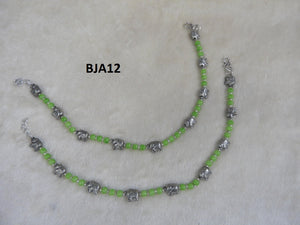 Tip Top Fashions Silver Plated Green Anklet Set - BJA12