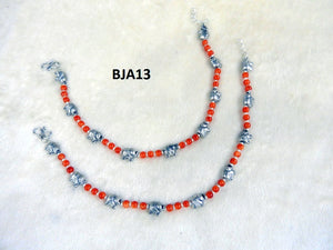 Tip Top Fashions Silver Plated Red Anklet Set - BJA13