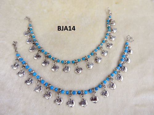 Tip Top Fashions Silver Plated Blue Anklet Set - BJA14