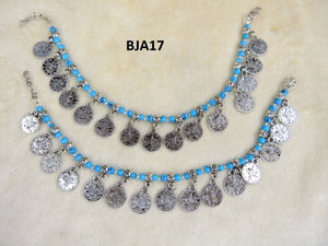Tip Top Fashions Silver Plated Blue Anklet Set - BJA17