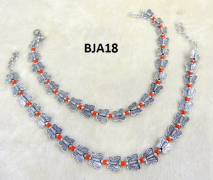 Tip Top Fashions Silver Plated Orange Anklet Set - BJA18