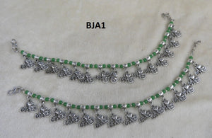 Tip Top Fashions Green Beads Anklets - BJA1