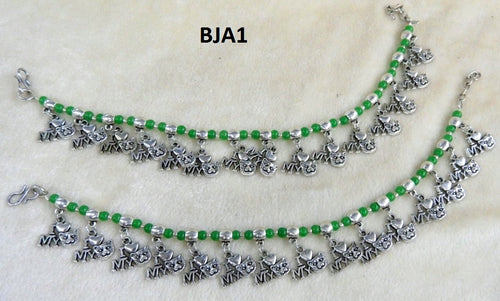 Tip Top Fashions Silver Plated Green Anklet Set - BJA1