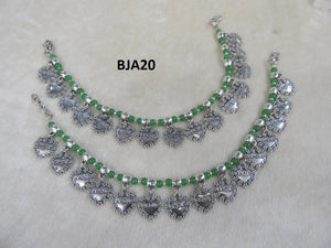 Tip Top Fashions Silver Plated Green Anklet Set - BJA20