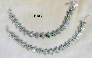 Tip Top Fashions Silver Plated Green Butterfly Anklet Set - BJA2