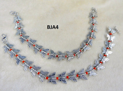 Tip Top Fashions Silver Plated Red Butterfly Anklet Set - BJA4