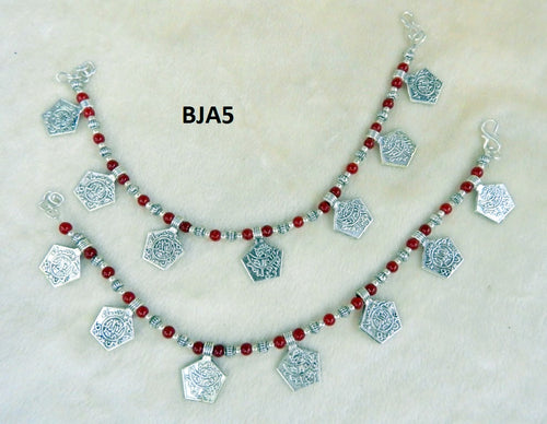 Tip Top Fashions Silver Plated Maroon Anklet Set - BJA5