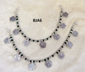 Tip Top Fashions Silver Plated Black Anklet Set - BJA6