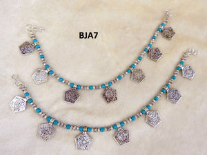 Tip Top Fashions Silver Plated Blue Anklet Set - BJA7