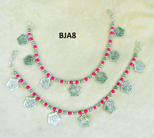 Tip Top Fashions Silver Plated Pink Anklet Set - BJA8