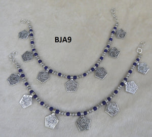 Tip Top Fashions Silver Plated Blue Anklet Set - BJA9