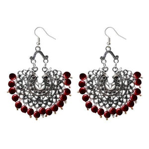 Tiptop Fashions  Beads Silver Plated Afghani Dangler Earrings  -  Imitation Jewellery - 1311208a - 13112