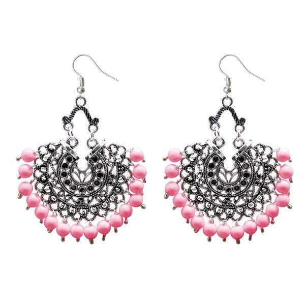 Tiptop Fashions  Beads Silver Plated Afghani Dangler Earrings  -  Imitation Jewellery - 1311208h - 13112