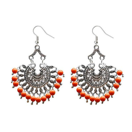 Tiptop Fashions  Silver Plated Beads Afghani Dangler Earrings  -  Imitation Jewellery - 1311209f - 13112