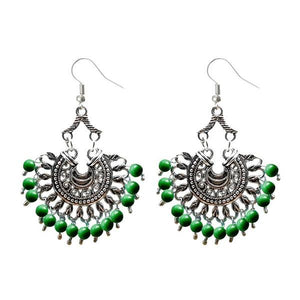 Tiptop Fashions  Silver Plated Beads Afghani Dangler Earrings  -  Imitation Jewellery - 1311209g - 13112