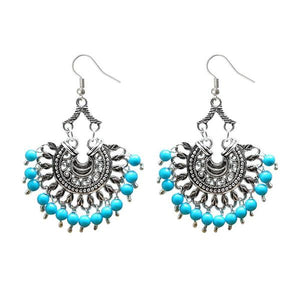 Tiptop Fashions  Silver Plated Beads Afghani Dangler Earrings  -  Imitation Jewellery - 1311209h - 13112