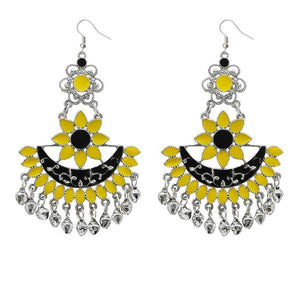 Tiptop Fashions  Yellow & Black Meenakari Afghani Earrings  -  Imitation Jewellery - 1311057a - 13110