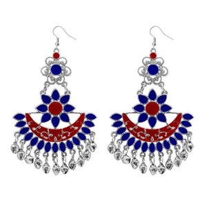 Tiptop Fashions  Blue Meenakari Afghani Dangler Earrings  -  Imitation Jewellery - 1311057b - 13110