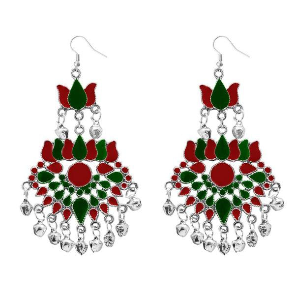 Tiptop Fashions  Maroon Meenakari Afghani Dangler Earrings  -  Imitation Jewellery - 1311059a - 13110