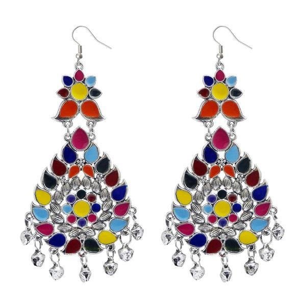 Tiptop Fashions  Multi Meenakari Afghani Dangler Earrings  -  Imitation Jewellery - 1311060k - 13110