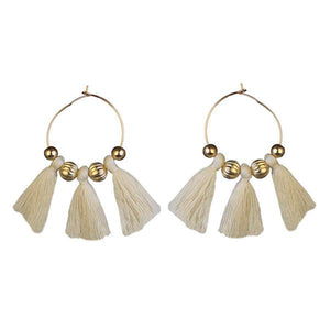 Tiptop Fashions  Gold Plated White Thread Earrings