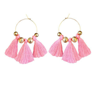 Tiptop Fashions  Gold Plated Pink Thread Earrings