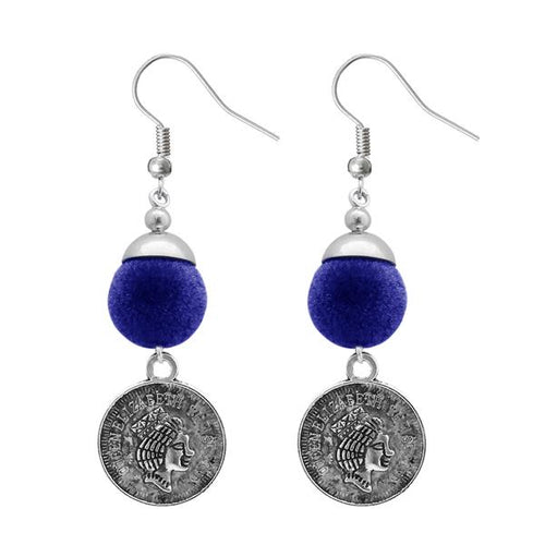 Tiptop Fashions  Blue Thread Silver Plated Dangler Earrings - Tiptop Fashions