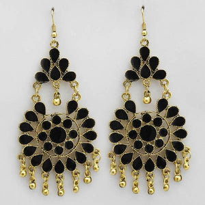 Tiptop Fashions  Gold Plated Black Meenakari Afghani Earrings  -  Imitation Jewellery - 1311070u - 13110