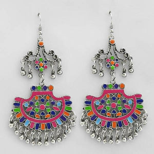 Tiptop Fashions  Multi Meenakari Rhodium Plated Afghani Earrings  -  Imitation Jewellery - 1311074b - 13110