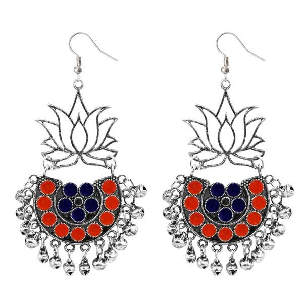 Tiptop Fashions  Silver Plated Orange & Blue Meenakari Afghani Earrings  -  Imitation Jewellery - 1311079e - 13110