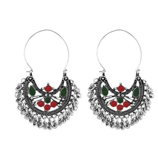 Tiptop Fashions  Maroon & Green Meenakari Afghani Earrings  -  Imitation Jewellery - 1311083a - 13110