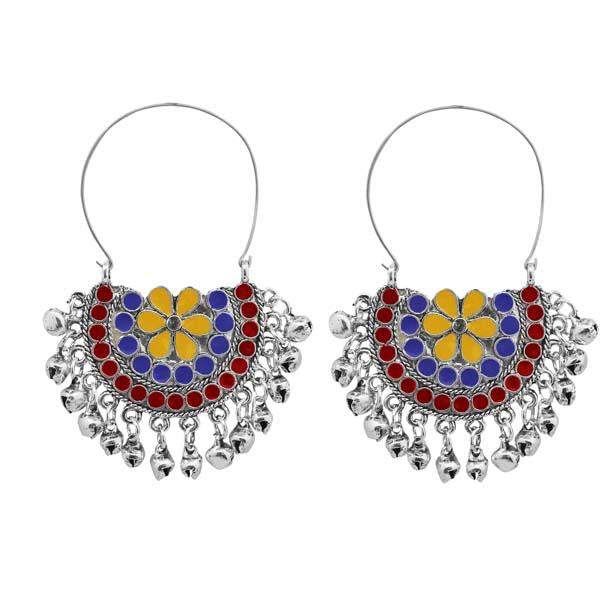 Tiptop Fashions  Multi Meenakari Silver Plated Afghani Earrings  -  Imitation Jewellery - 1311084f - 13110
