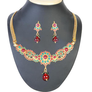 Tiptop Fashions  Green & Maroon Stone Necklace Set  -  Imitation Jewellery - 1101001 - 11010