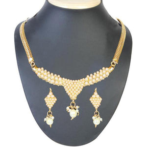 Tiptop Fashions  Pearl Gold Plated Necklace Set  -  Imitation Jewellery - 1101004 - 11010