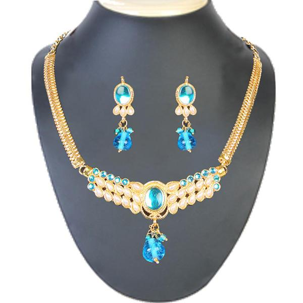 Tiptop Fashions  Blue Kundan Pearl Gold Plated Necklace Set  -  Imitation Jewellery - 1101006 - 11010