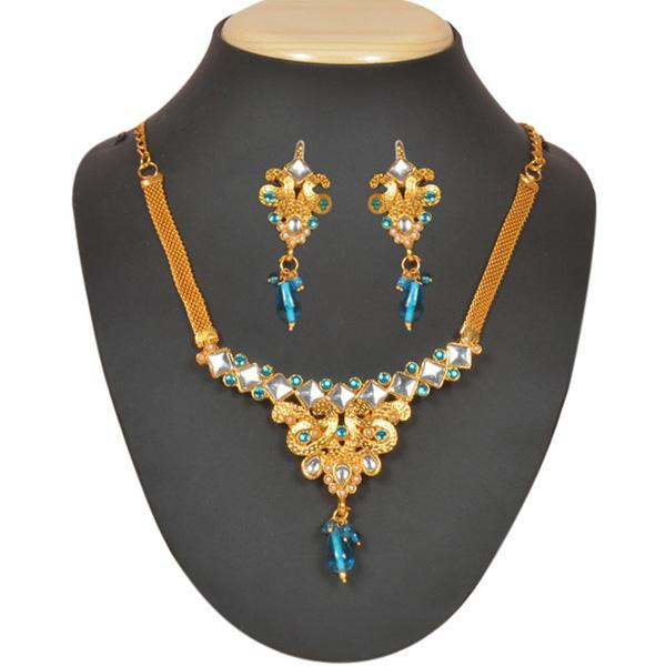 Tiptop Fashions  Blue Drop Kundan Pearl Necklace Set  -  Imitation Jewellery - 1101010 - 11010