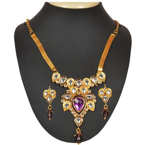 Tiptop Fashions  Purple Stone And kundan Necklace Set  -  Imitation Jewellery - 1101011 - 11010