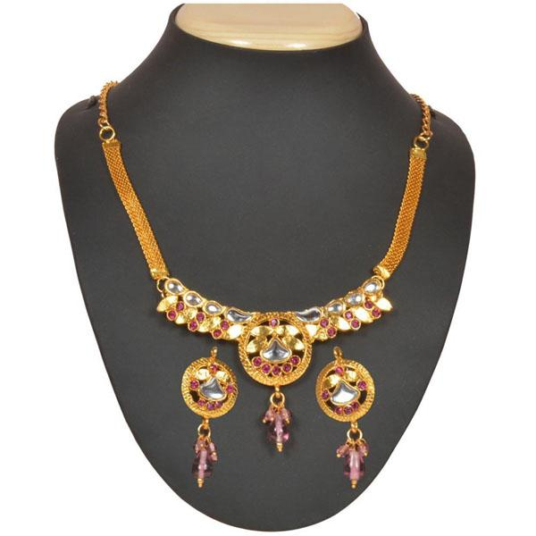 Tiptop Fashions  Pink Kundan Austrian Stone Necklace Set  -  Imitation Jewellery - 1101013 - 11010
