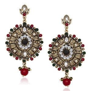 Tiptop Fashions  Kundan Green Austrian Stone Dangler Earrings  -  1305529