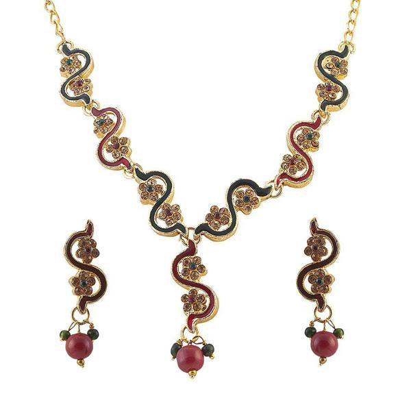 Tiptop Fashions  Red Meenakari Stone Floral Design Necklace Set  -  Imitation Jewellery - 1100830 - 11008