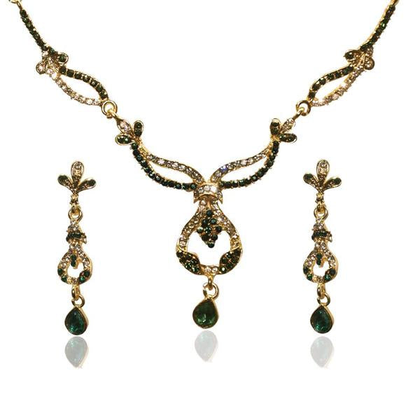 Tiptop Fashions  Gold Plated Green Stone Necklace Set  -  Imitation Jewellery - 1103906 - 11039