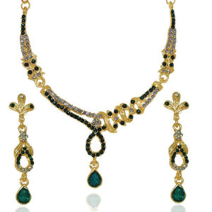 Tiptop Fashions  Green Austrian Stone Necklace Set  -  Imitation Jewellery - 1103908 - 11039