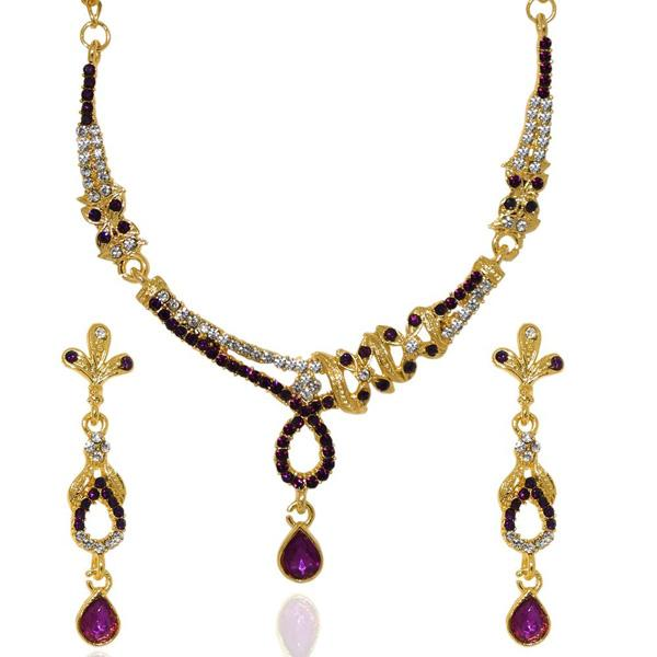Tiptop Fashions  Purple Austrian Stone Gold Plated Necklace Set  -  Imitation Jewellery - 1103910 - 11039