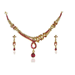 Tiptop Fashions  Pink Austrian Stone Gold Plated Necklace Sets  -  Imitation Jewellery - 1103911 - 11039