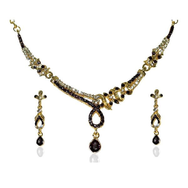 Tiptop Fashions  Black Austrian Stone Gold Plated Necklace Set  -  Imitation Jewellery - 1103912 - 11039