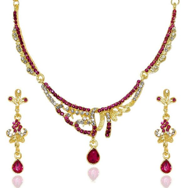Tiptop Fashions  Pink Austrian Stone Necklace Set  -  Imitation Jewellery - 1103937 - 11039