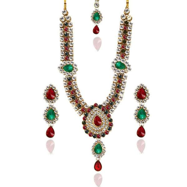 Tiptop Fashions  Charms Green stone Necklace Set With Maang Tikka  -  Imitation Jewellery - 1103603 - 11036